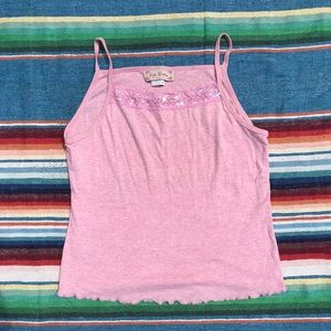 Tops - pink tank with pink crystals sz small